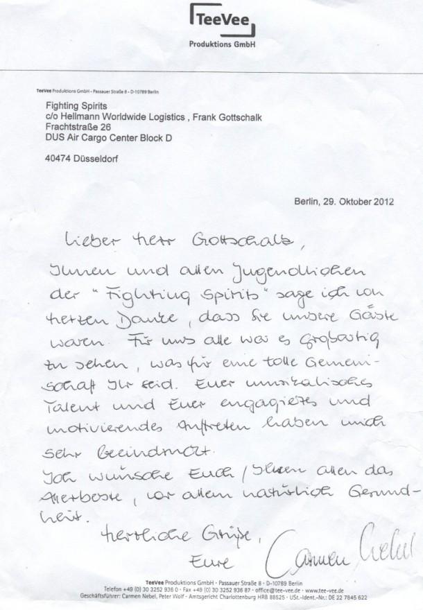 Brief von Carmen Nebel